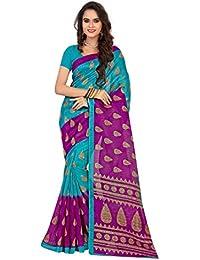 Cotton Blue color Bhagalpuri saree With Blouse