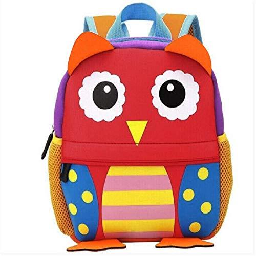 Schultaschen WEN FENG Süßes Kind Kleinkind Schoo Taschen Rucksack Kindergarten Kinder Mädchen Jungen Schultasche 3D Cartoon Tier Tasche 31x12x21 cm Eule