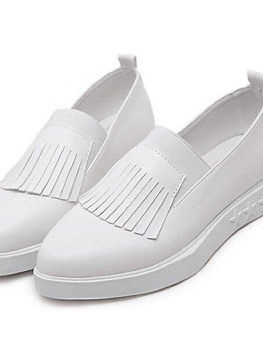 Shangyi Gyht Chaussures Femme-mocassins-décontracté-confortable-plateau-pu-noir / Blanc Blanc