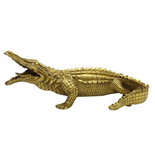 (Messing handgefertigt Krokodil Statue Tier Home Decor Ornament Einzugs WUNSCHZAHL Geschenk bs234)