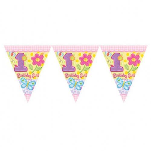 1 Wimpelkette * Birthday Girl * bunt bedruckt für Kindergeburtstag udn Taufe // Birthday Kinder Taufe Mottoparty Rosa Mädchen