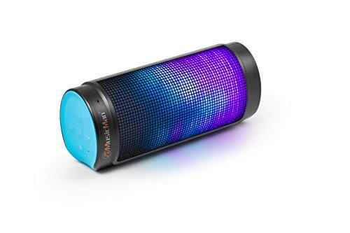 MusicMan Bluetooth LED Light Soundstation BT-X26 blau-schwarz, Bluetooth Lautsprecher mit Freisprechfunktion und Lichteffekten