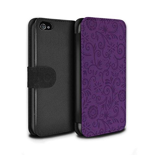 Stuff4 Coque/Etui/Housse Cuir PU Case/Cover pour Apple iPhone 4/4S / Fleur jaune Design / Motif Remous floral Collection Fleur pourpre