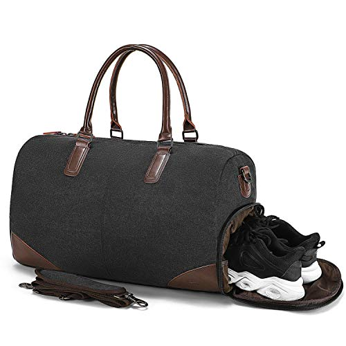 Fresion Retro Sporttasche Reisetasche Herren - Canvas Reisetaschen mit Schuhfach und 15 Zoll Laptopfach, Weekender Handgepäck Tasche mit PU Leder Damen-Schultertaschen Umhängetaschen Männer,Schwarz -