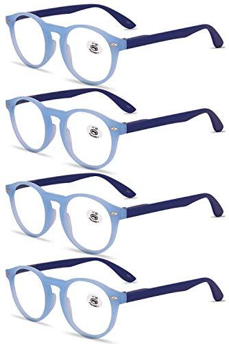 VEVESMUNDO® Lesebrillen Damen Herren Retro Runde Lesehilfe Sehhilfe Arbeitsplatzbrille Nerdbrille Hornbrille mit Stärke Schwarz Leopard Blau Rot Brau (4 Stück Blau Lesebrillen, 2.0)