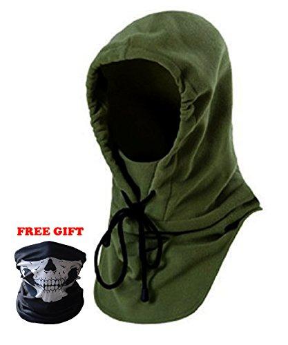 6 in 1 multi-funzione regolabile maschera viso inverno in pile antivento,unisex passamontagna cappello sci/bici/moto (verde)