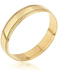 Kareco 9ct Yellow Gold D Shape Wedding Band Ring Mill Grain Edge 4mm