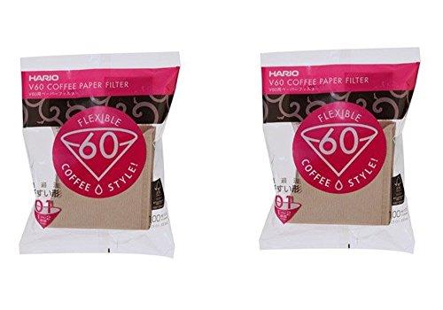 Hario V60 Papierfilter für 01 Kaffee Dripper, Natürliches Papier x 2Pack (Gesamt 200 Stück) Wert...