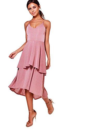 Dusky Pink Femmes Petite Eliza Robe Patineuse À Ourlet Plongeant Dusky Pink
