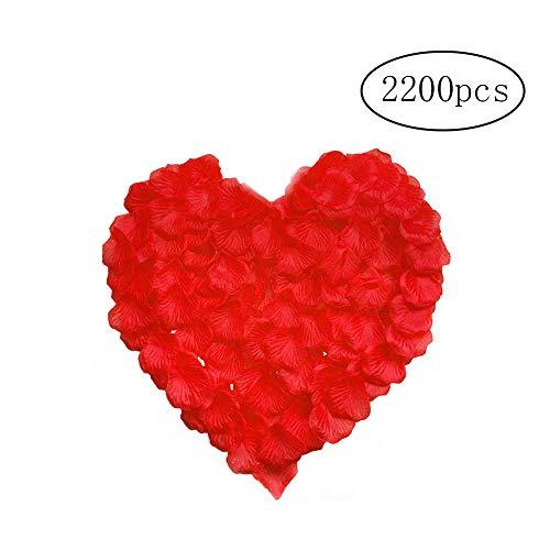 (Joloy 2200 PC Silk Rosenblätter Simulation Naturgetreue Rose Künstliche Rose Blütenblätter für Hochzeit Dekoration Red)