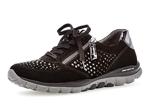 Gabor Damen Low-Top Sneaker 36.968, Frauen Sport-Halbschuh,Halbschuh,Schnürschuh,Strassenschuh,Business,Freizeit,schwarz (Strass),40 EU / 6.5 UK