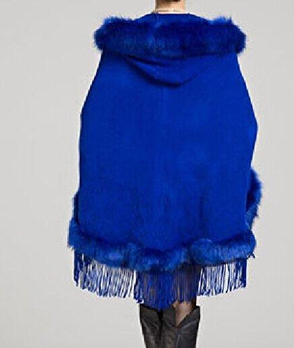 Damen Faux Kaschmir Schal Umhang wasserabweisend mit Kapuze Fringed Cape Cardigan Blau - Marineblau