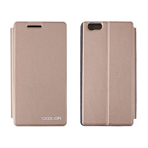 Guran® PU Leder Tasche Etui für Elephone M2 Smartphone Flip Cover Stand Hülle Case-gold