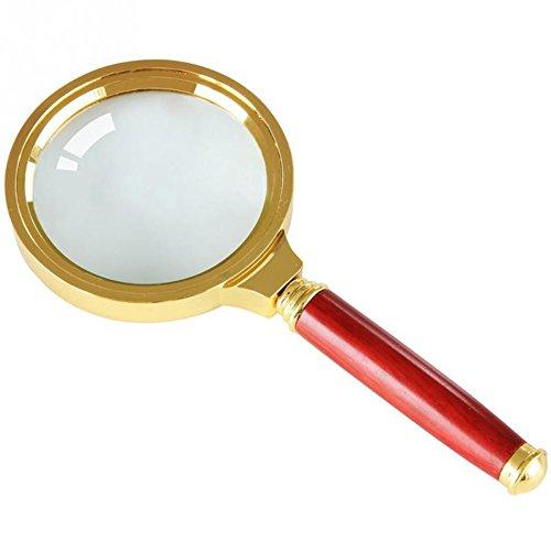 VI. Yo Handlupe 8x optische Linse Lupe Schmuck Lupe mit Rosenholz Griff Glas 50mm Dia 8 X Lupe