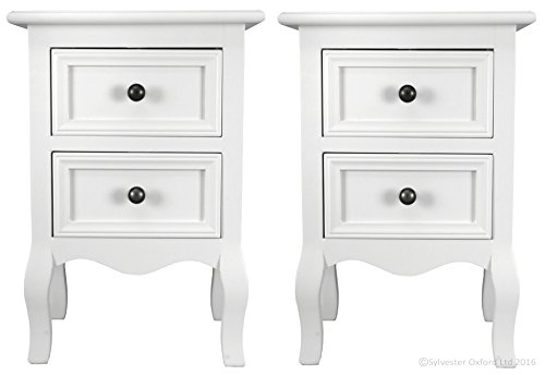 Set of Two Small Traditional Style Bedside Table in White