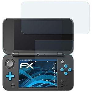 atFoliX Schutzfolie kompatibel mit Nintendo New 2DS XL Panzerfolie, ultraklare und stoßdämpfende FX Folie (3er Set)