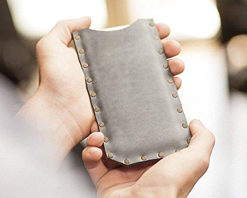 Gris housse en cuir pour iPhone 8, 7, 6/6s étui pochette case coque cover. Coutures rivetées