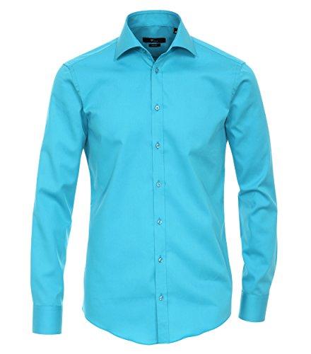 Venti Hemd Petrol Uni Twill Langarm Slim Fit Tailliert Kentkragen 100% Feinste Baumwolle Popeline Bügelfrei Blau