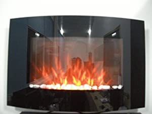TruFlame Large 2kW Black Glass Screen Wall Mounted Fireplace