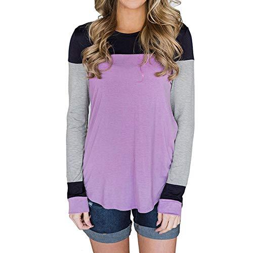 Briskorry Damen Beiläufig Oberteile Mode O-Ausschnitt Patchwork Lange Ärmel T-Shirt Pullover Sweatshirts Herbst Oberteile (EU-44/CN-XL, Y Lila)