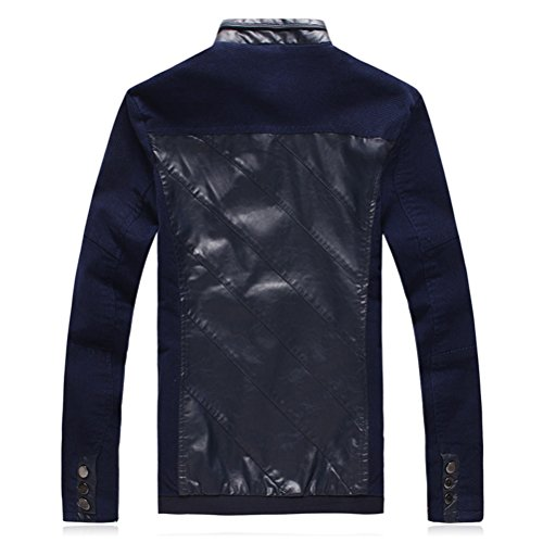 Zhhlaixing Mode Mens Long Sleeve Jackets Zipped Outerwear PU Leather Coats Dark Blue