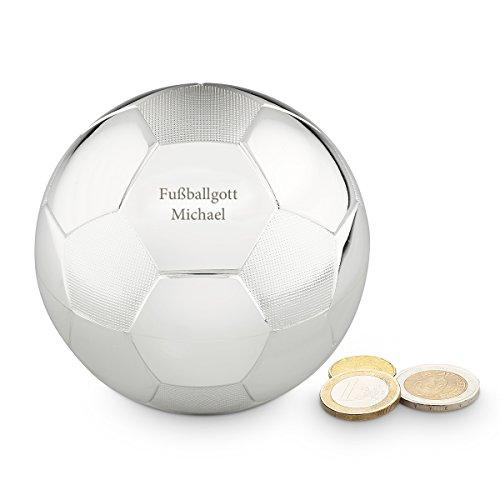 Geschenkidee.de Fußball Spardose mit Gravur | Zeitlose Elegante Sparbüchse mit Wunsch-Text | versilbert und anlaufgeschützt, Ø 8,5cm