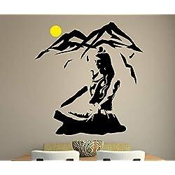 alicefen Lord Shiva Wandaufkleber Yoga Lotus Pose Vinyl Wandtattoo Berg Meditation Dekoration Hindu Gott Abnehmbare Art 60 * 57 cm