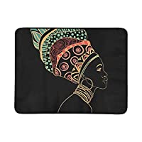 SHAOKAO Portrait Beautiful African Woman Earring Profile Portable And Foldable Blanket Mat 60x78 Inch Handy Mat For Camping Picnic Beach Indoor Outdoor Travel