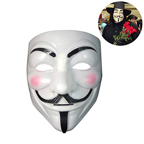 Yissma Máscara anónima Vendetta Disfraz de Carnaval de Halloween Máscara anónima Máscara de Guy Fawkes