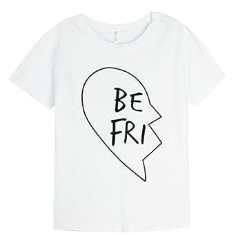 Ai.Moichien New Fashion BF Fidanzate Migliori Amici Colleghi Lettera Suore Cotone Top Camicia T-Shirt