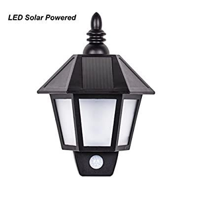 B-right Waterproof Garden light, Retro Style Lantern Shape, LED Solar Wall Light, Motion Sensor Light, Night Security Light, for Deck, Yard, Home, Stairs, Patio, Garden, Driveway - low-cost UK light shop.