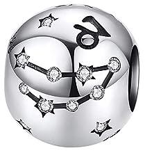 Maria Fonte Bead Charm Segno Zodiacale Capricorno in Argento Sterling 925, Compatibile con Le più Diffuse Marche di Braccialetti e collane.