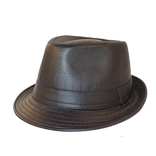 Chapeau-tendance - Chapeau Trilby façon Cuir Noir - 57 - Homme