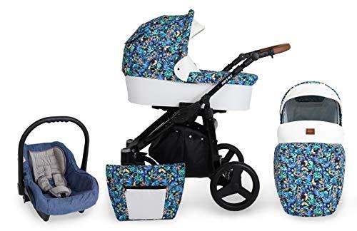 Clamaro 'Rotax' Kinderwagen 3 in 1 Premium Kombikinderwagen Set mit Babywanne, Sportwagen Buggy Aufsatz und 0+ (0-13 kg) Autositz Babyschale - Design: 4. Weiß mit Tukan Muster