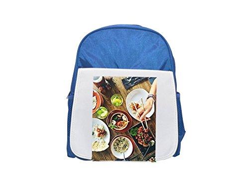 Mochila para niños con estampado de alimentos, restaurante, menú, Asia, cena, color azul, bonitas mochilas, bonitas mochilas pequeñas, lindas mochilas negras, mochilas negras, mochilas de moda, grandes mochilas de moda, negro rápido