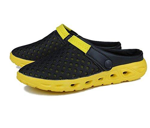 GAOJIAN Sandales d'été Maille Hommes et femmes Pantoufles Nouveaux nids d'oiseaux Chaussures en fil Sandales Chaussures Pieds demi-pantoufles 41