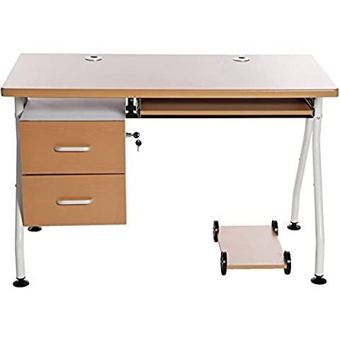 Charles Jacobs Home Office Study Computer Desk Workstation in Beech with Sliding Keyboard Tray & Drawers for Storage for PC/