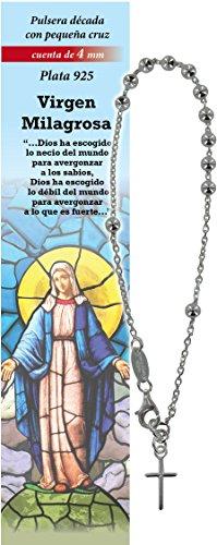 Pulsera Rosario de plata 925 con 11 cuentas de 4 mm y una cruz - Virgen Milagrosa - en español