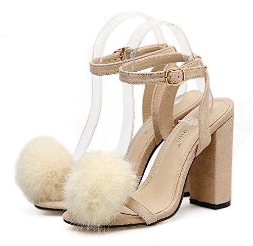 Aisun Damen Sexy Offene Zehen Kunstfell Pompon Knöchelriemchen Blockabsatz Sandale Mit Schnalle Aprikosenfarben