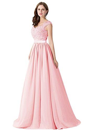 Damen Elegant Herzform Chiffon Abiballkleid Abendkleid Ballkleid mit Blumenstickerei Lang Rosa 46