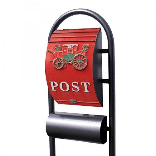 banjado - Design Stand Briefkasten mit Zeitungsrolle Metall schwarz 44x150x14cm mit Motiv Postkasten Nostalgie