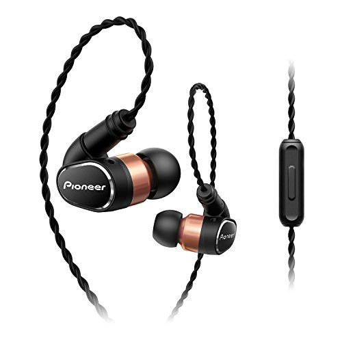 Pioneer SE-CH9T(K) Hi-Res Audio In-Ear Kopfhörer (Aluminiumgehäuse, Bedienelement, Mikrofon, abnehmbare Over-the-ear-Kabel, verstärkte Ohrstöpsel, leicht-bequem, 3,5mm Klinkenstecker), Schwarz - Audio-kabel Pioneer