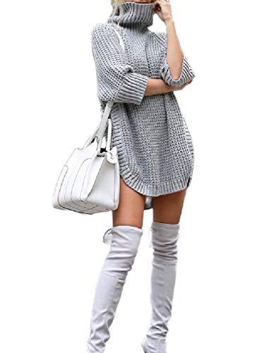 CuteRose Women's Cowl Neck Loose Knitted Split Pullover Dress Sweater Grey M -