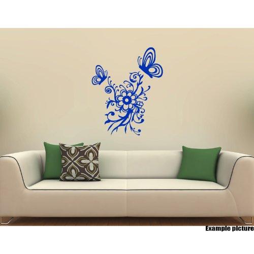 """Preisvergleich Produktbild Blumen Ornament (50 cm x 34 cm) und 2 Schmetterlinge (1-22 Wanderrucksack cm x 18 cm, 1-14 cm x 12 cm), Farbe: Azure Blue """", Blumen, Dekoration für Zuhause, Motiv"""" Blumen """", Vinyl, für Schlafzimmer, Auto, Fenster, Wandtattoo, Kunst, ThatVinylPlace Wandtattoo"""