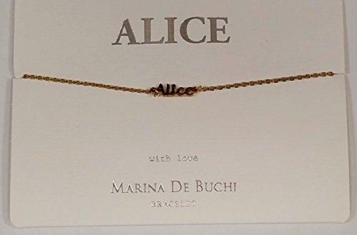 Alice Nom de Marina De Buchi Bracelet plaqué or par Sterling Effectz