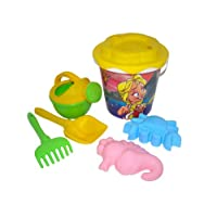 Polesie 35806 356, Sunflower Sieve, Shovel, Rake No.5, Sand Forms (Crab No.1 with Sea Horse), Small Watering Can No. 4-Sets: Decorated Bucket, Multi Colour