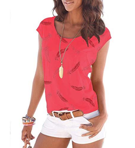 Fleasee Damen T-Shirt Kurzarm Bluse Locker Ärmelloses Top Lässig Sommer Tee mit Allover-Sternen und Anker Druck-XXL-Wassermelone Rot-feter -