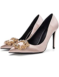 Zapatos es Champagne Satén Mujer Para Amazon Color T5qwxdgg