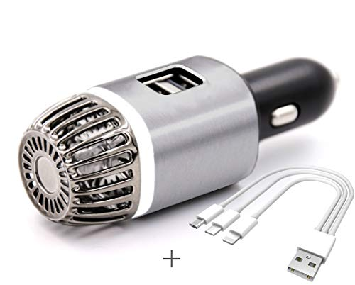 Purificatore e ionizzatore d'aria per auto NIOSS con 2 porte di ricarica USB ultra veloci e luce bianca di funzionamento. Deodorante per auto - Rimuove polvere, fumo, allergeni e cattivi odo