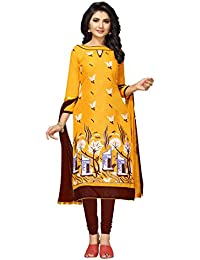 Women'S Yellow Semi Stitched Embroidered Cotton Blend Dress Material WCANK30002